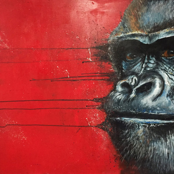 Gorilla painting by artist Ewen Macaulay