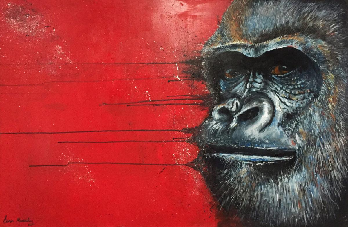Gorilla painting by artist Ewen Macaulay