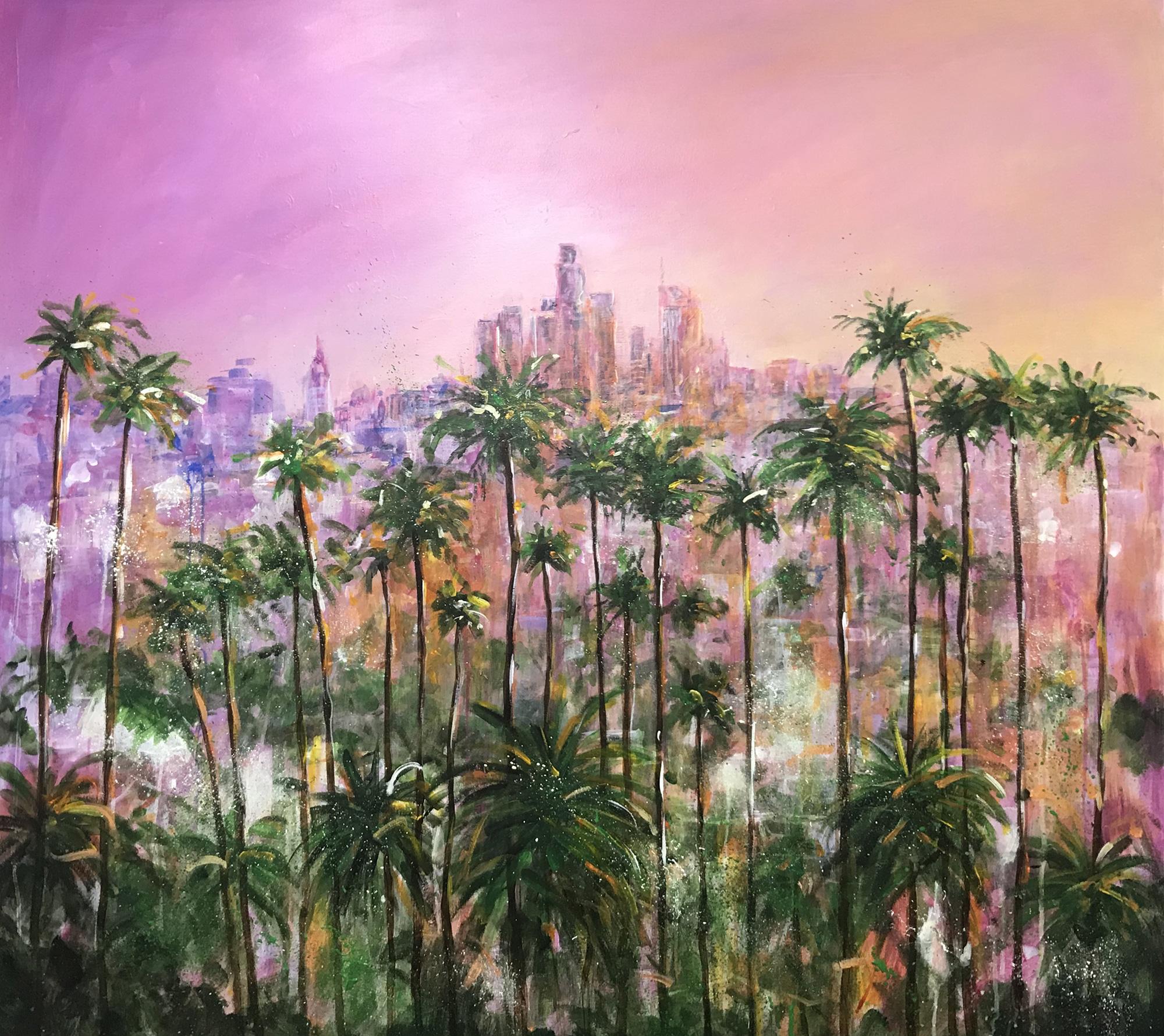 L.A Skyline painting at dusk - Artist Ewen Macaulay